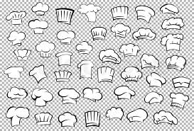 classic chef toques and baker hats in outline sketch style on gray
