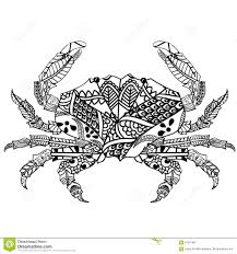 crab with ethnic doodle pattern zentangle inspired pattern for