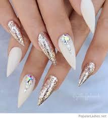 white stilettos nails with glitter nails pinterest white