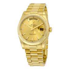 rolex day date chagne 18k yellow gold president automatic