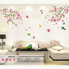 amaonm pink cherry blossom tree flowers birds and butterfly wall