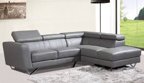 Grey Leather Sectional Sofa 6201 Amalia Sectional Sofa In Grey Leather By At Home Usa