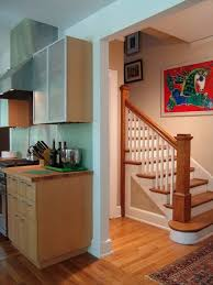 wood steps with white risers houzz