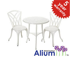 Aluminium Bistro Table And Chairs Alium Harrison Cast Aluminium 2 Seater Garden Bistro Set In White