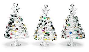 glass tree ornaments set of 3 swirl glass