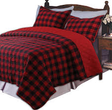greenland home western plaid twin quilt set red