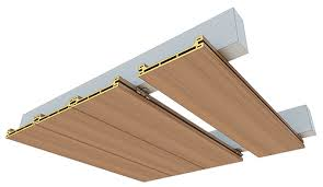 Wood Slat Ceiling System by Innowood Ceiling Systems Can Incorporate A Unique Acoustic Material