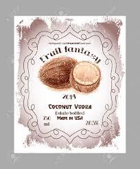 editable fruit vintage fruit labels template coconut vodka liquor