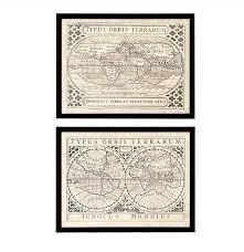Maps Cu Vintage Maps Prints Set Of 2 Regency Distribution