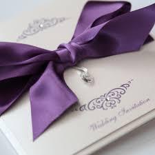 bow invitation with swarovski crystal heart purple u0026 ivory