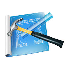 architecture sketch with ruler and hammer stock photo image