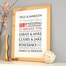 personalised ruby wedding anniversary art by a type of design