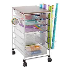 gift wrap platinum elfa mesh gift wrap cart the container store
