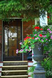 house entrance with flower vase stock photo picture and royalty