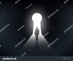 Keyhole Doorway by Silhouette Man Walking Light Keyhole Stock Vector 179346797