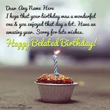 belated birthday cupcake wish with name