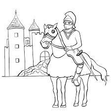 le chevalier et son château en coloriage en ligne ou à imprimer