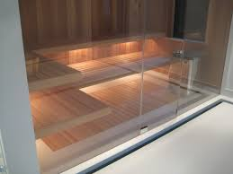 sauna glass doors fas built sauna with glass wall floating benches and inset flush