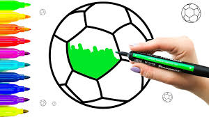 how to draw and paint soccer ball colouring videos and teach