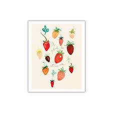 Strawberry Home Decor Watercolor Strawberry Print Home Decor Kitchen Wall