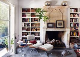 dazzling classic home library with lounge chair design and