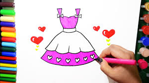draw color paint barbie heart dress coloring pages and learn