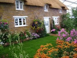 modern beautiful cottage flower garden on home garden with