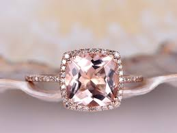 big diamond engagement rings cushion 9x9mm morganite ring diamond engagement ring solid 14k