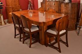 antique art deco burr walnut dining table u0026 6 chairs