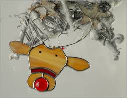 stained glass reindeer christmas ornament free postage