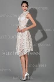 custom wedding dress knee length white modest high collar lace wedding dresses