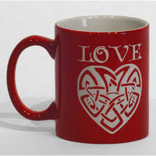 11oz ceramic red glaze coffee mug with white etching in your