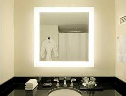 lighted mirror bathroom