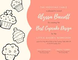 cupcake kid contest award certificate templates by canva