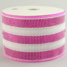 4 poly deco mesh ribbon metallic pink white stripe rs2063n1