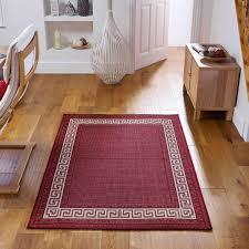greek key flatweave bordered black rug anti slip rug therugshopuk