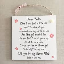 will you be my flower girl gift be my flower girl gift personalised wedding plaque wooden