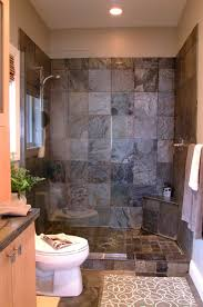 Shower Designs With Bench Gray Stone Shower Interior For Small Bathroom Decor With Corner