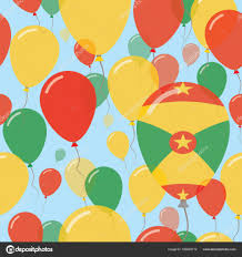 National Flags With Orange Grenada National Day Flat Seamless Pattern Flying Celebration
