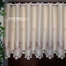semi shade embroidery rustic curtain fabric kitchen curtains