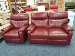 excellent quality and condition burgundy leather reclining 2