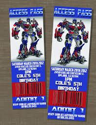 optimus prime birthday party transformers birthday optimus prime ticket invite 10 00 via