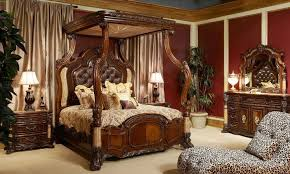enchanting victorian bedroom with carved canopy bed and sleek