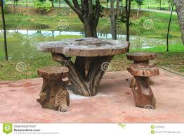 Wooden Table And Chairs Outdoor Wooden Table And Chairs In The Garden Stock Photo Image 45184252