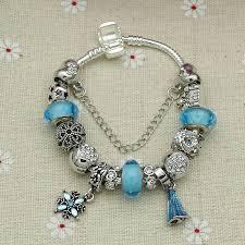 murano glass bangle bracelet images Silver elsa princess charm bracelet bangle for female with blue jpg