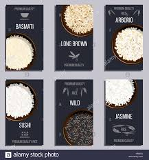 labels set with different types of rice in pots basmati wild