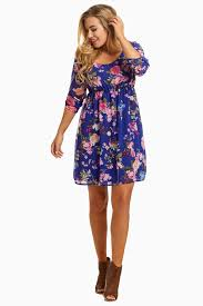 maternity wear royal blue floral 3 4 sleeve chiffon maternity dress