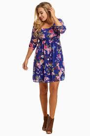 royal blue floral 3 4 sleeve chiffon maternity dress