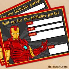 free printable avengers iron man birthday invitation free