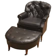 black leather club chair and ottoman black leather chesterfield club chair and ottoman for sale at 1stdibs